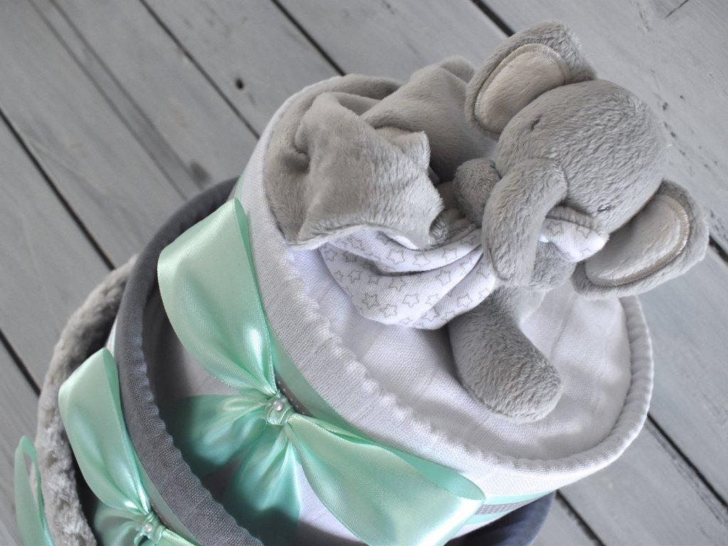 Trojposchodová plienková torta IV. ozdobená šedým uspávacím sloníkom mint stuha
