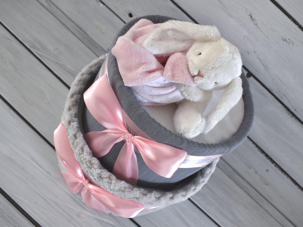 Dvojposchodová plienková torta XI. pre dievčatká s bambusovou osuškou a zajačikom 1
