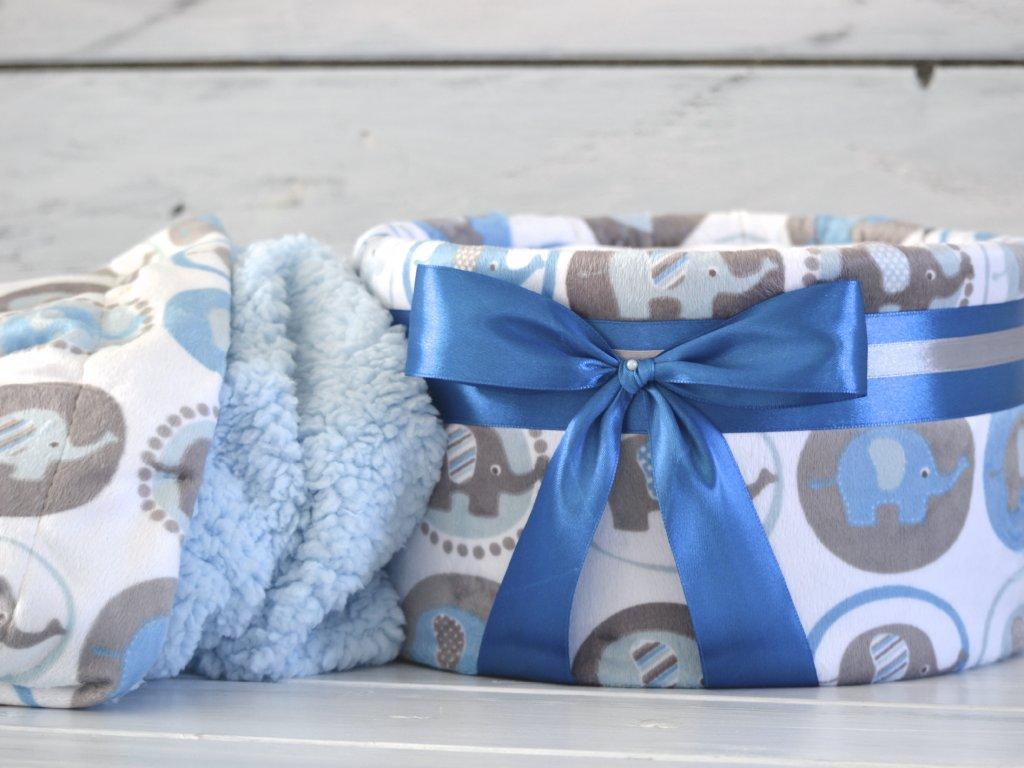 Jednopatrový plenkový dort IV. s oboustrannou barevnou dekou - modrý