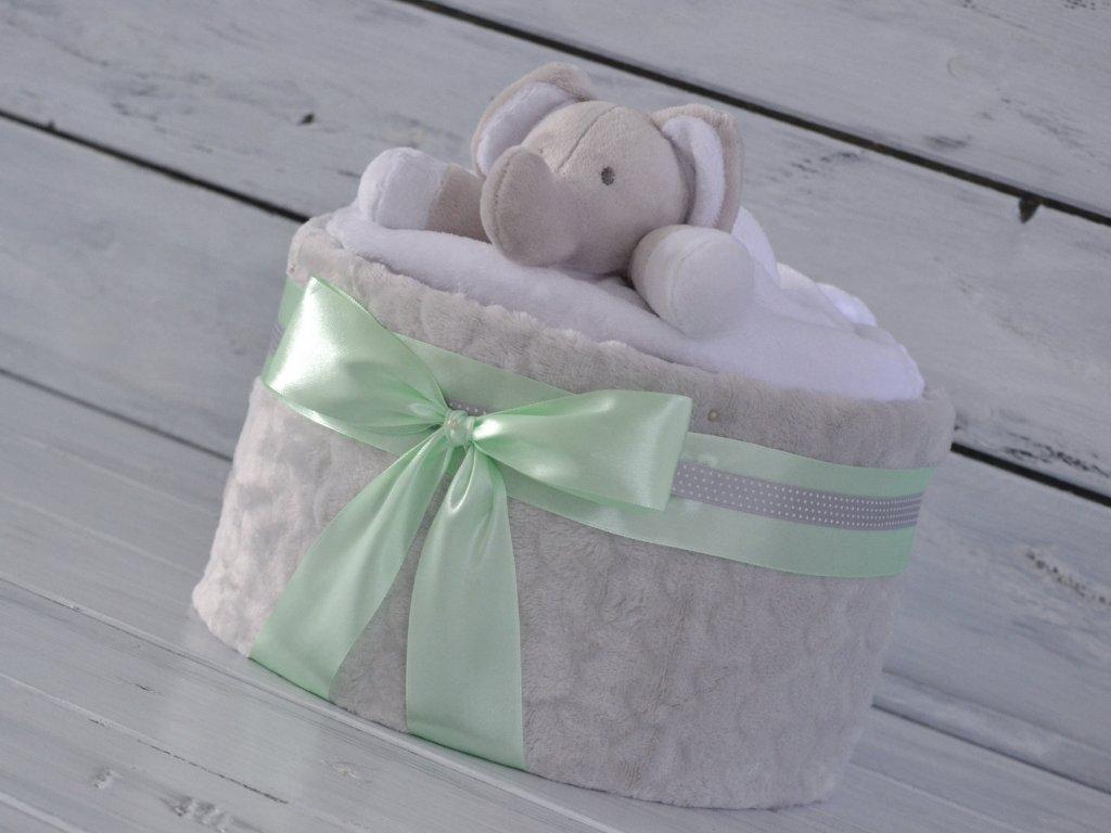 Jednopatrový plenkový dort XI. zdobený sloníkem usínáčkem 1