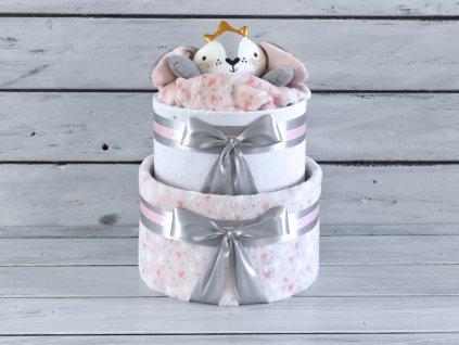 Dvojposchodová plienková torta XV. pre dievčatká ozdobená princeznou 1