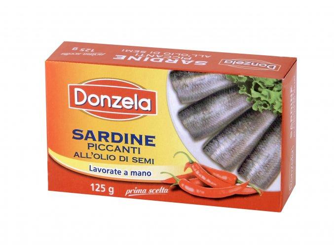 Sardinky v slnečnicovom oleji pikantné Donzela 125g