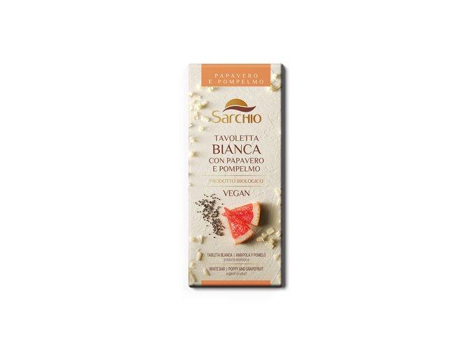 Čokoláda biela s grepom a makom Sarchio 80g