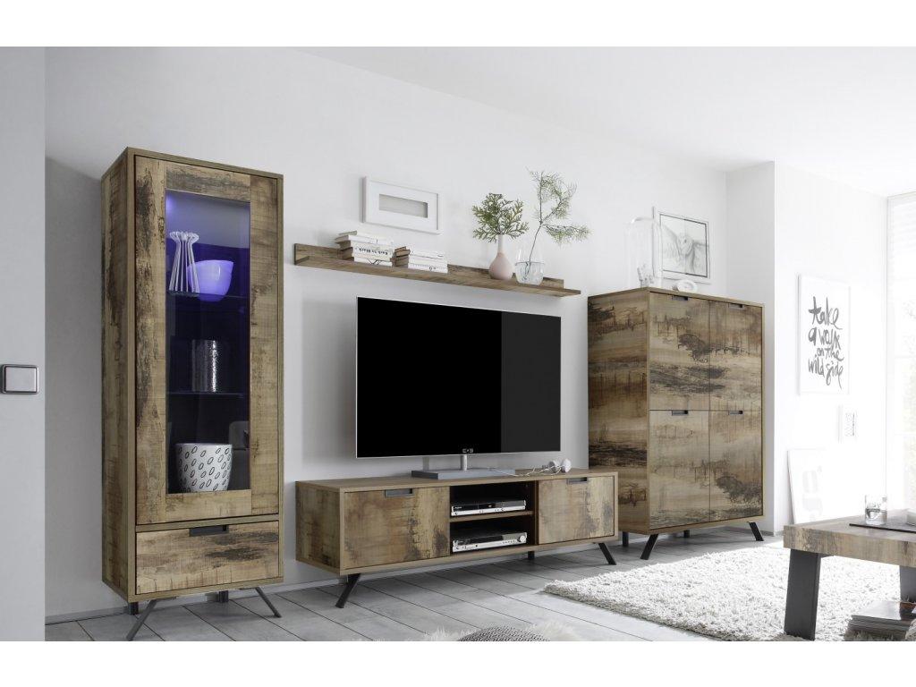 4 Palma Pero Wohnen Vitrine 1trg. TV Element Highboard Wandregal LQ11