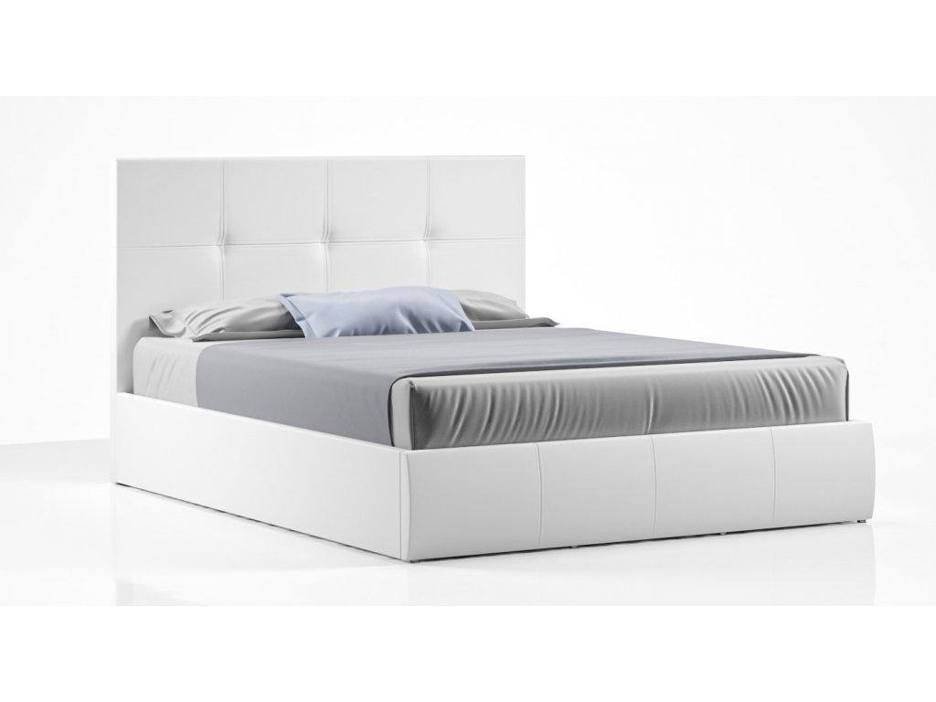 Čalouněná postel 140x200 bílá, s úložným prostorem TWIST
