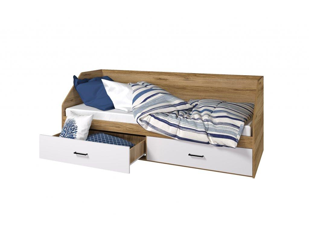 Dětská postel 80x200 Light s úložným prostorem, dub grand/ bílá