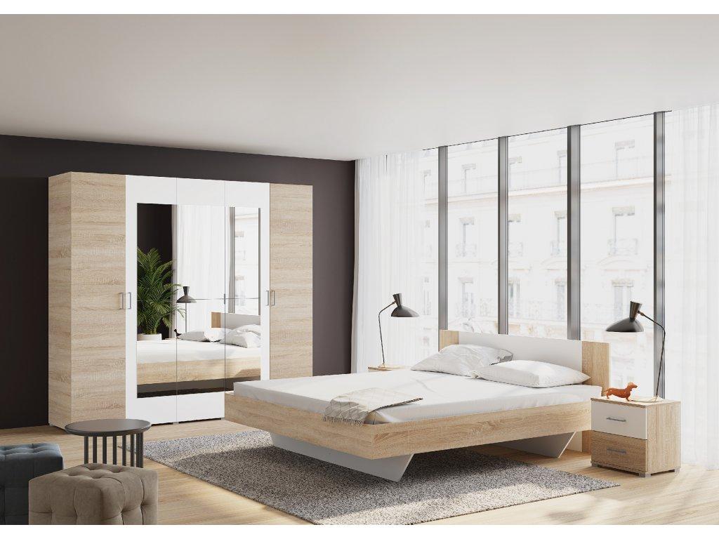 Ložnice MADRID , s postelí 180x200 cm, dub sonoma/bílá