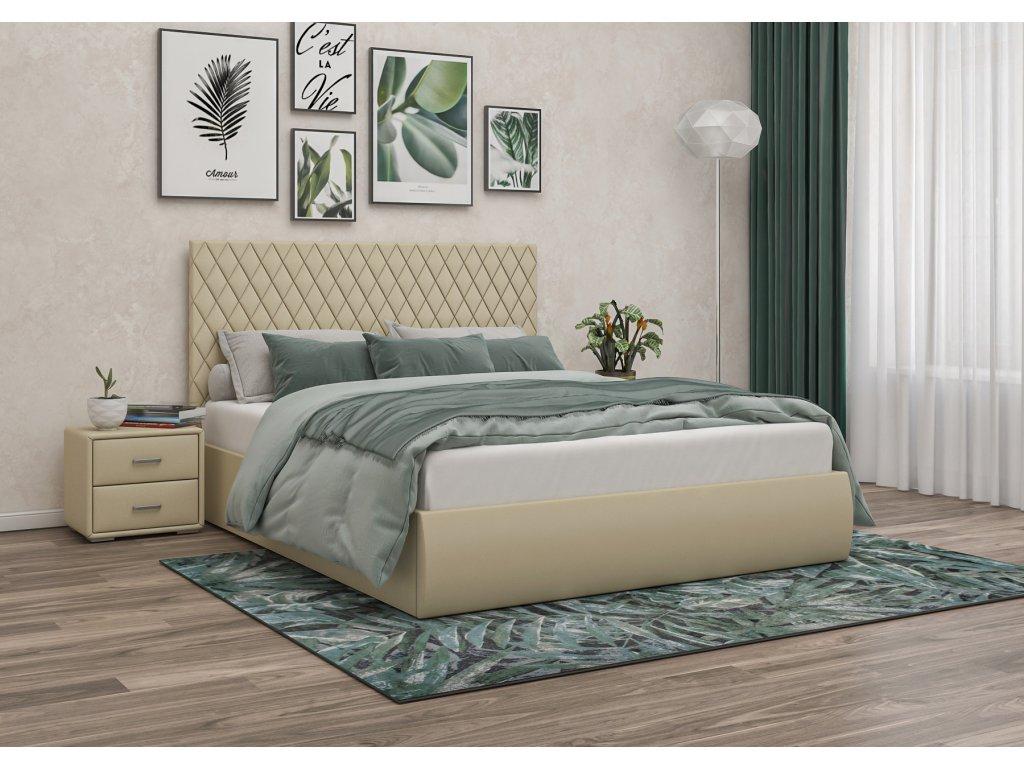 Čalouněná postel 140x200 krémová, s úložným prostorem STELLA