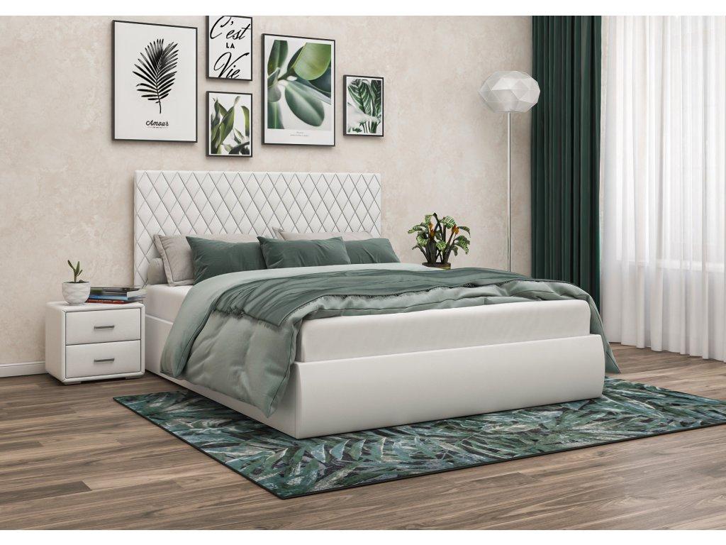 Čalouněná postel 160x200 bílá, s úložným prostorem STELLA