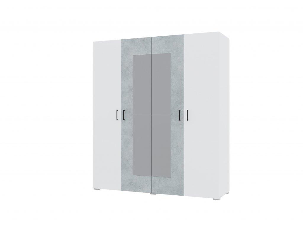 Šatní skříň 4-dvéřová NOVA beton/bílá