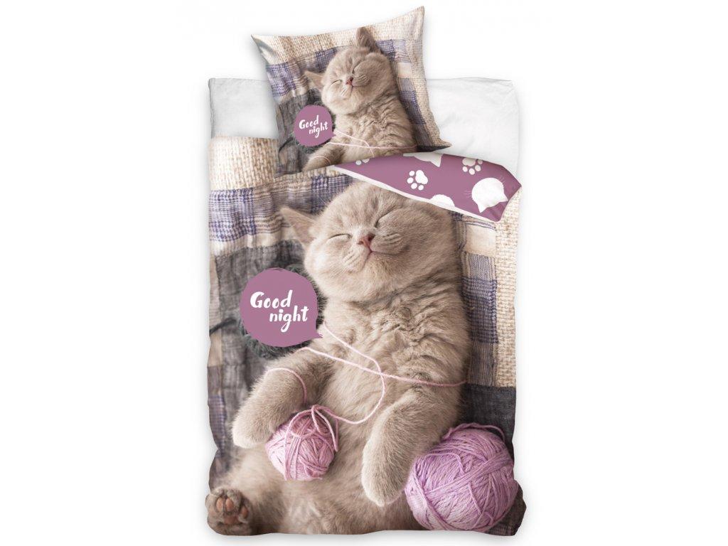 Bavlněné povlečení Koťátko s klubíčky