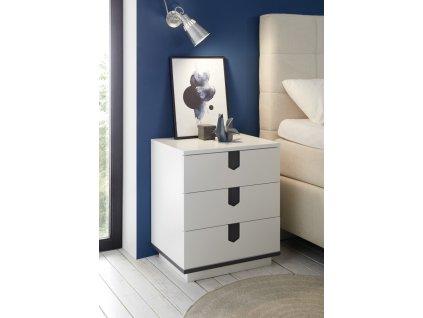 Noční stolek ANGKOR; bílý, 3 zásuvky
