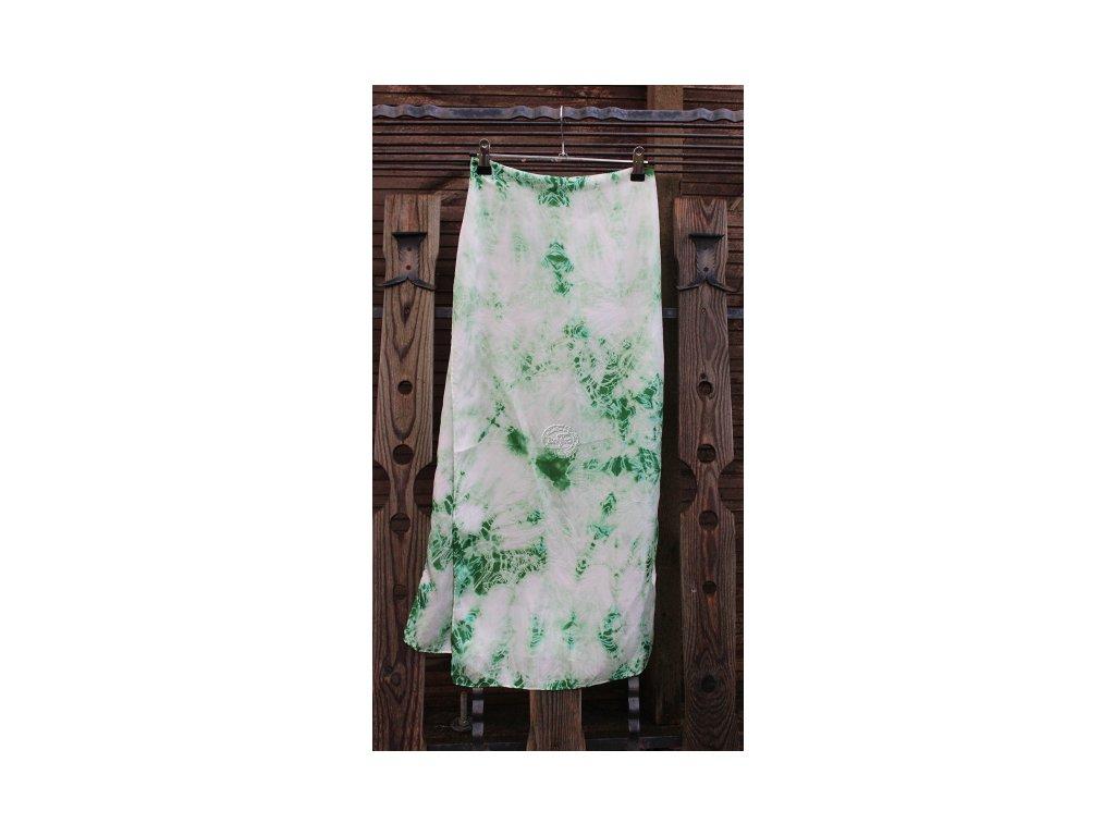 silk scarf green 180x45cm