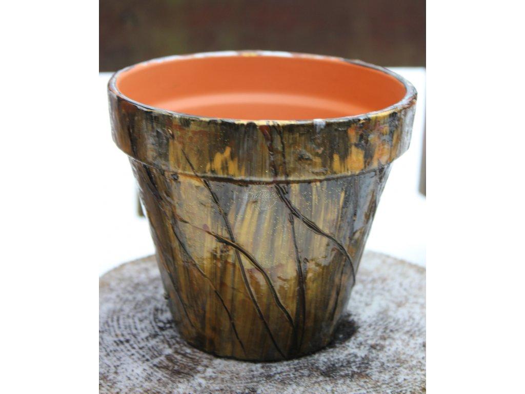 kusovka,ručne maľovaný terakotový kvetináč