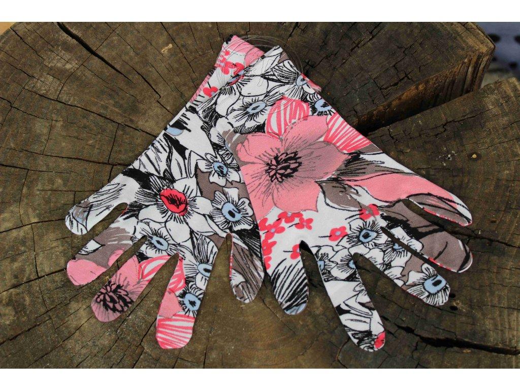 rukavice 5 prsté úpletové farebné Ružové kvietky, recyvec