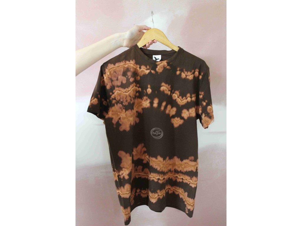 tričko uni batikované L bavlna hnedá recy