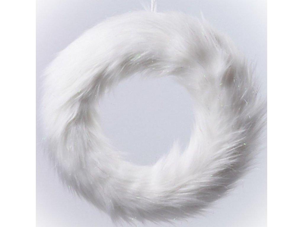 204311 veniec biely 36cm chlpatý