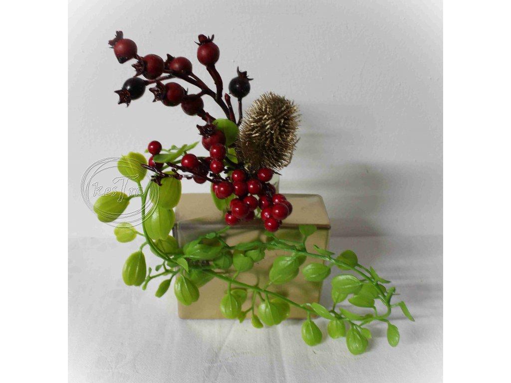 Vianočná mini ikebana v recy nádobke