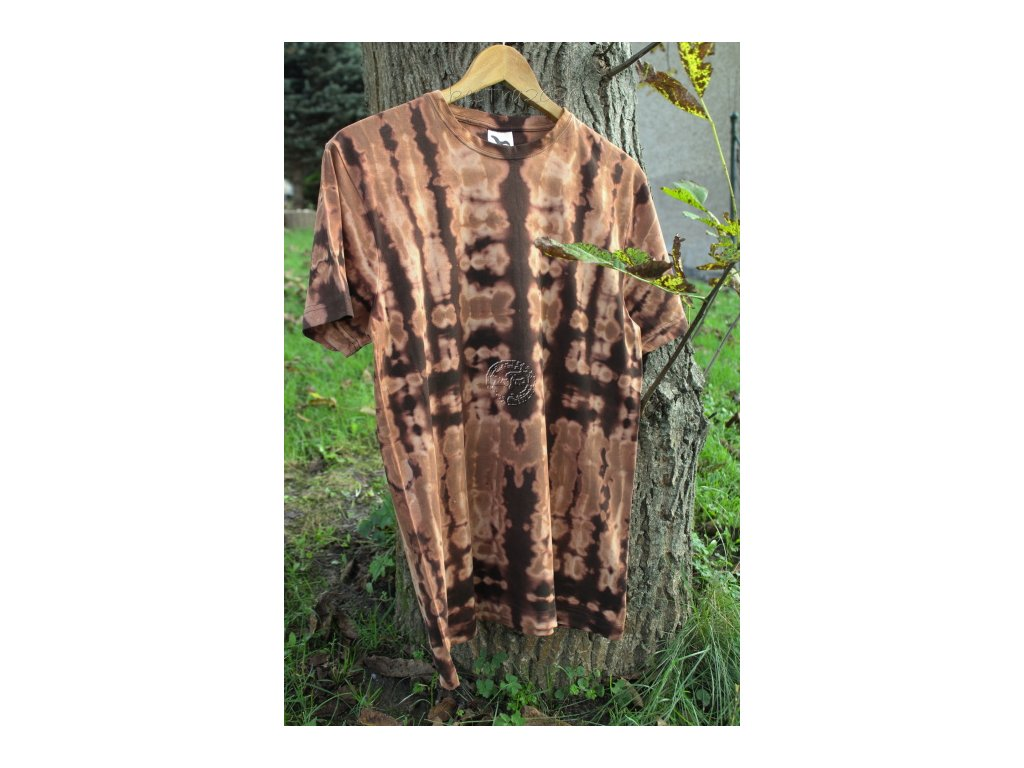bavlnené batikované uni tričko M hnedé