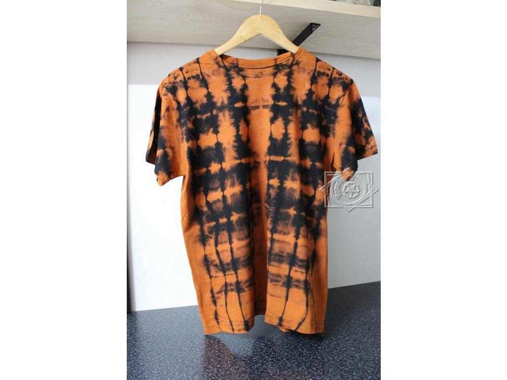 tričko batikované M uni čierne bavlnené