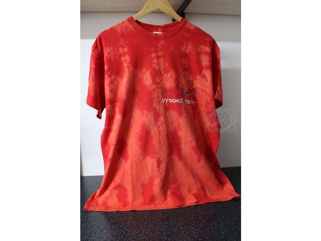 recy tričko L batika červená