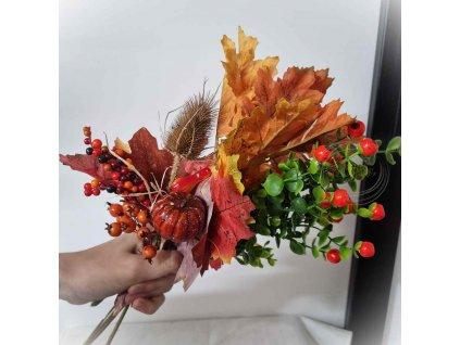 Kytička z javorovými listami a tekvičkou - umelohmotná dekorácia