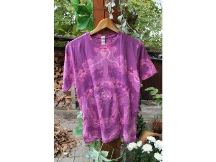 tričko batikované uni M bavlna fialová