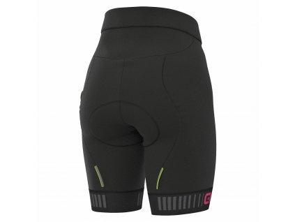 Dámske cyklo nohavice bez trakov ALÉ SOLID TRAGUARDO (Farba ALÉ-SOLID-TRAGUARDO-bez-trakov-black-fluo pink, Veľkosť XXL)