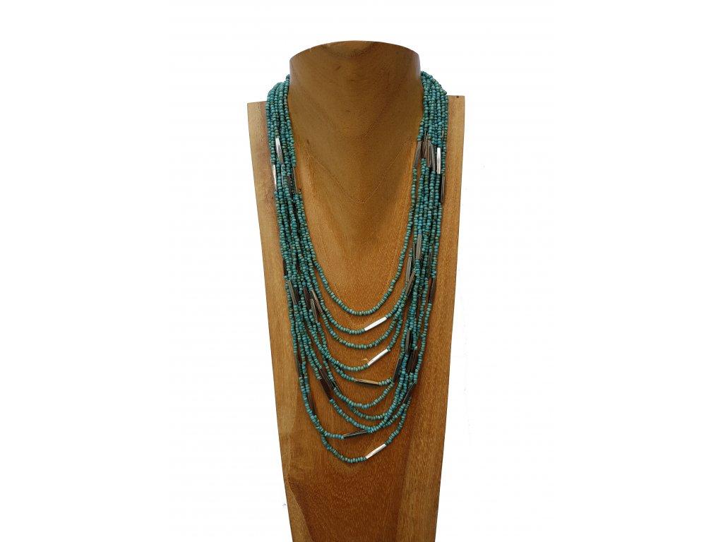 Korálkový náhrdelník tyrkys