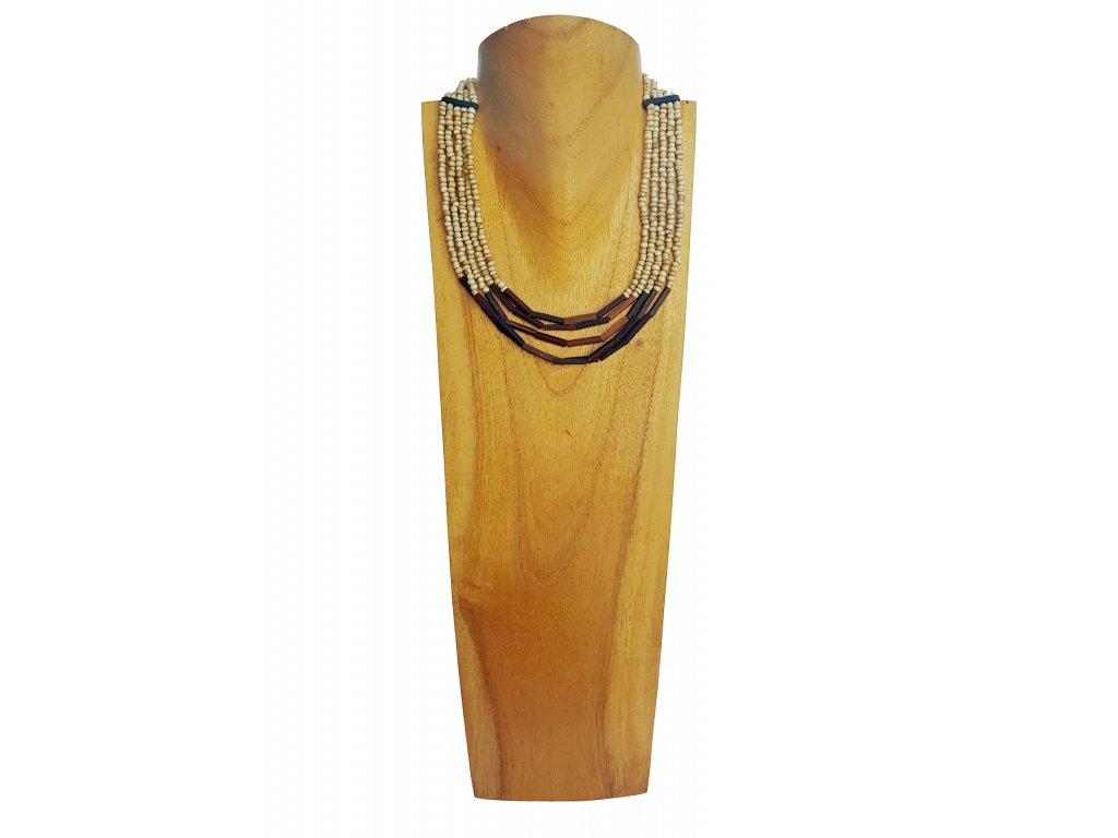 Korálkový náhrdelník s ebenovými komponenty béžový