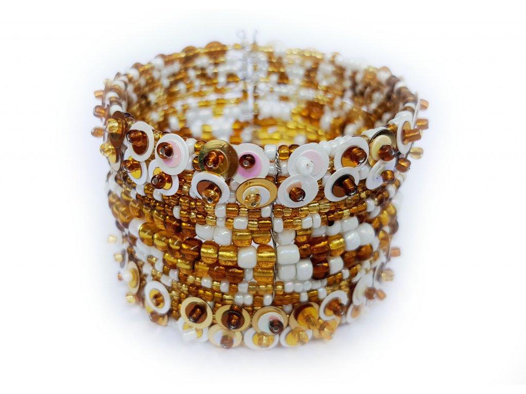 Korálkový náramek s flitry bílo zlatý