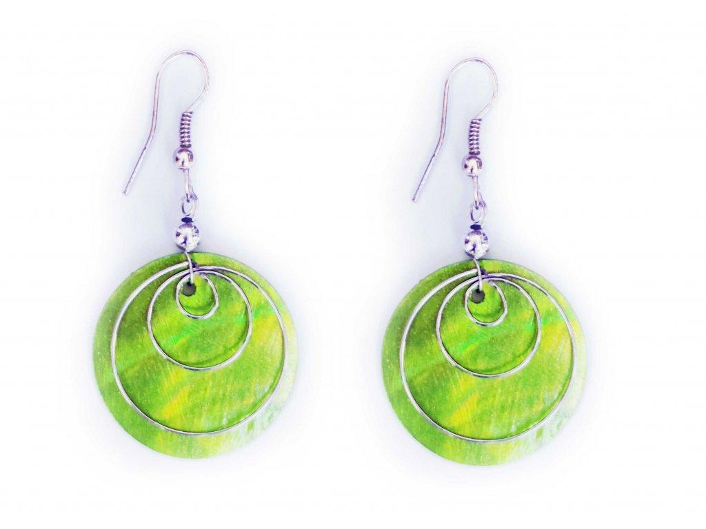 Náušnice kruh s ornamentem zelené