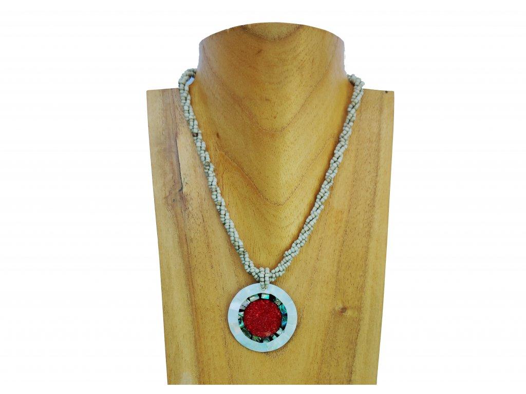 Náhrdelník červený kruh s perleťovým lemováním
