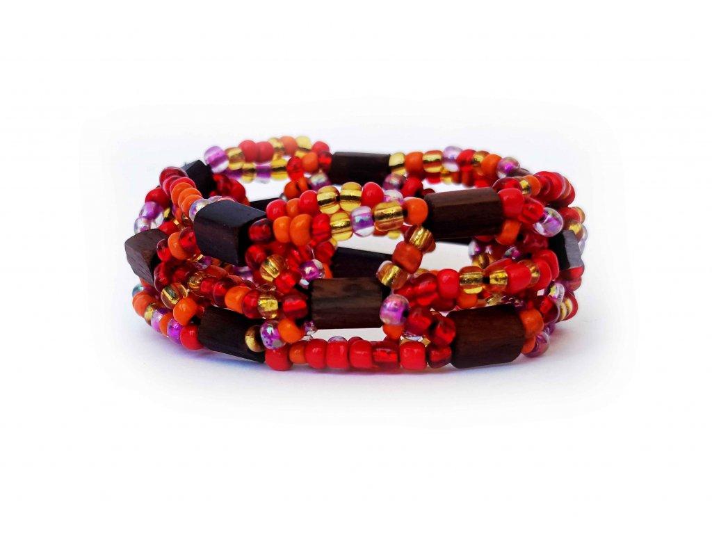Náramek s ebenovými a skleněnými korálky červený