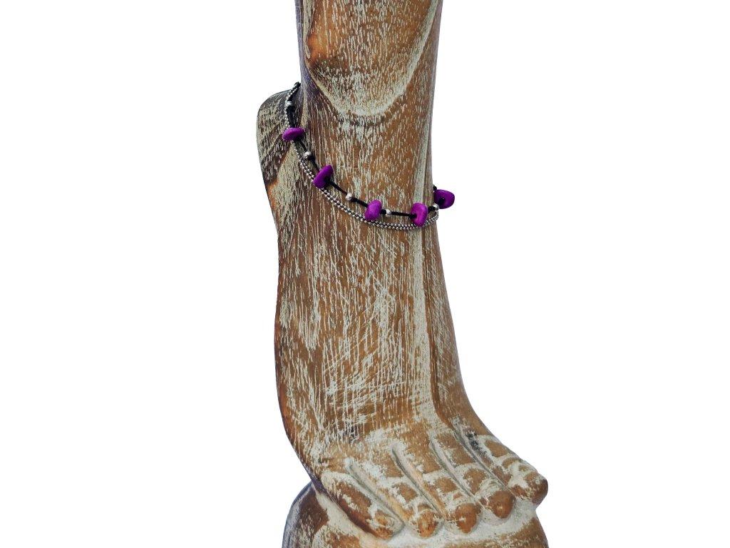 Kotníkový náramek fialové kamínky