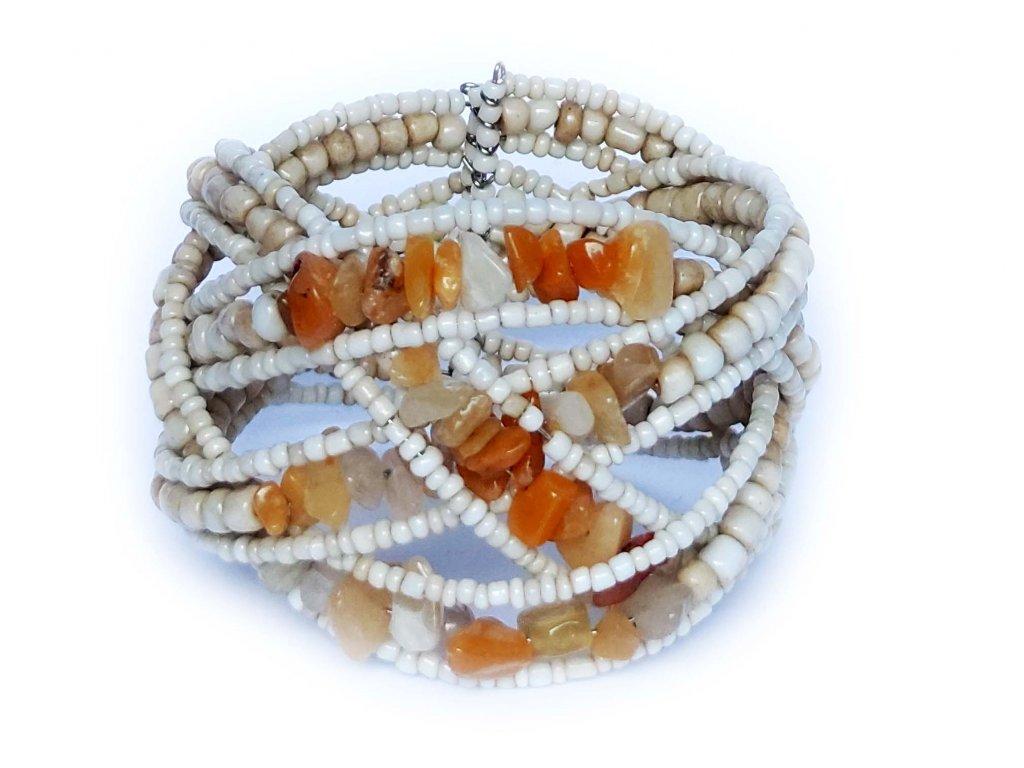 Korálkový náramek s kamínky béžový