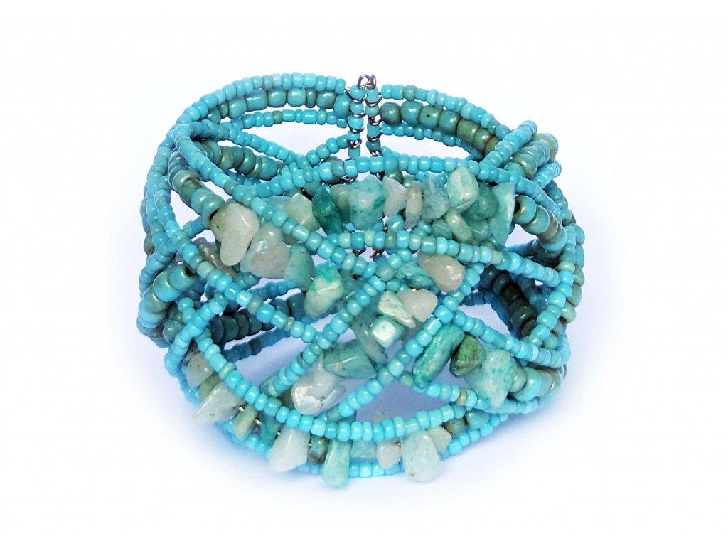 Korálkový náramek s kamínky modrý