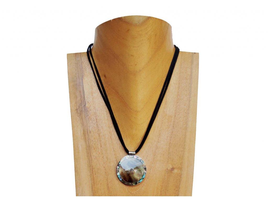 Náhrdelník kruh s perleťovým lemováním