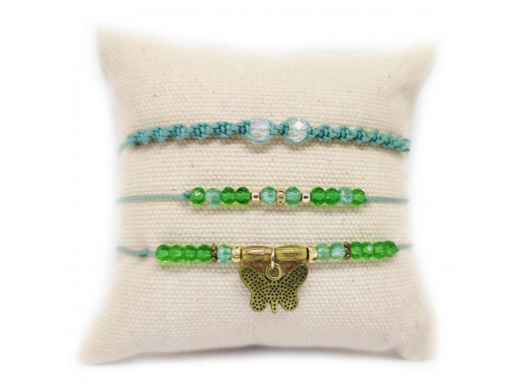 Set náramků zelený s motýlem