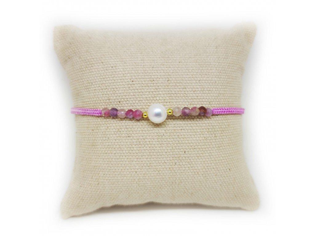 Náramek s perličkou a acháty růžový