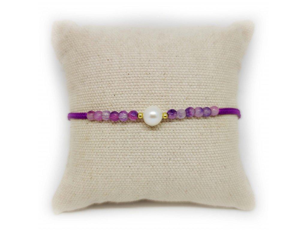 Náramek s perličkou a acháty fialový