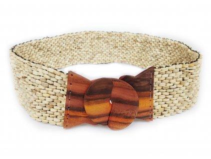 Kokosový pásek s ebenovou přezkou béžový