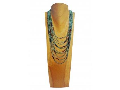 Korálkový náhrdelník s ebenovými komponenty tyrkys