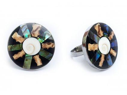 Prsten mušle s černo perleťovým lemováním
