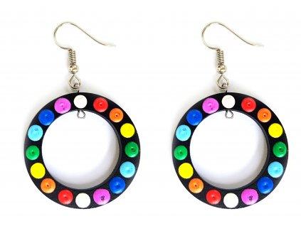 Náušnice dřevěné kruhy barevné