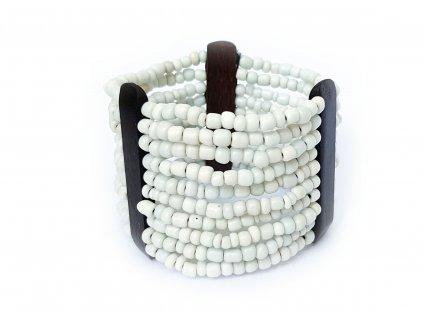 Korálkový náramek bílý