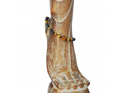 Náramek na nohu z béžového tygřího oka