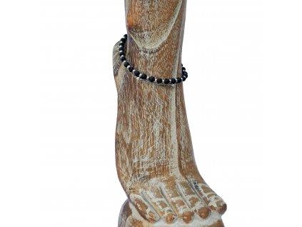 Kotníkový lávový náramek s kovovými korálky