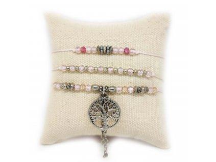 Set náramků růžový se stromem života