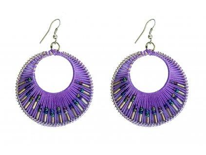 Paprskové náušnice fialové